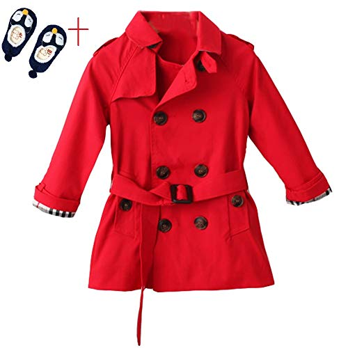 LSERVER Kids Boys Trench Coat Toddler Girls Windbreaker Autumn Spring Jacket Children Outwear British Coats Camel 2-6T