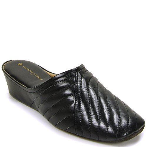 Jacques Levine #1221 Womens Leather Wedge Slipper Black