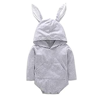 Yiwa Christmas Newborn Baby Cute Jumpsuit with Rabbit Ears Long Sleeve Unisex Lovely Hooded Romper - Gray 100Cm