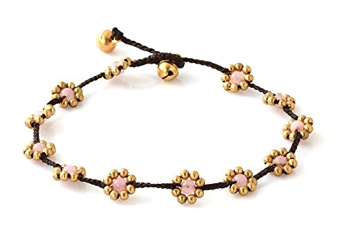 MGD, Pink Rose Quartz Color Bead and Brass Bell Anklet. Beautiful Handmade Brass Flower Anklet. Small Anklets. Ankle Bracelet. Fashion Jewelry for Women, Teens and Girls, JB-0250A from Mary Grace Design