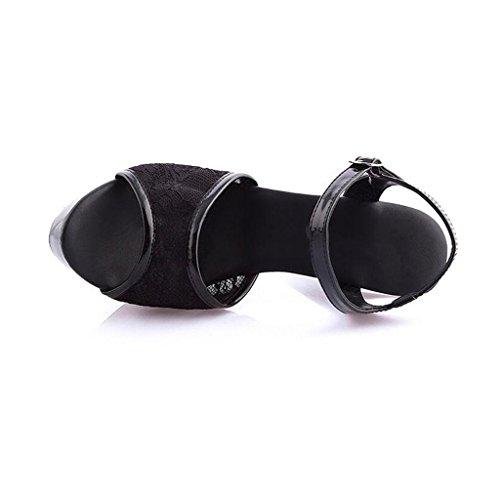 Encaje 13cm Impermeable Femenina Trabajo Inferior Altos Para Zapatos Mujer Gruesa Modelo Parte Tacones Sandalias Black Plataforma De 5RXqaqS1
