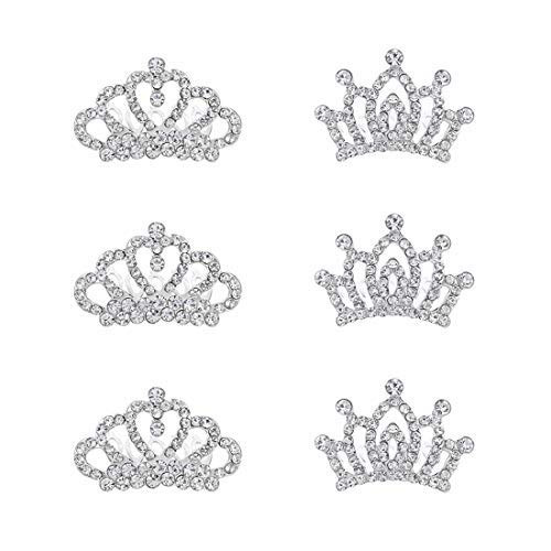 Mini Princess Crown Comb Tiara Hair Clips for Wedding Flower Girls Birthday Party Favor Cupcake Toppers Pack of 6 -