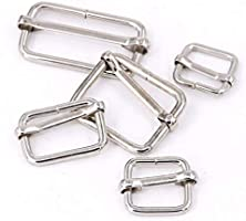 Metal Adjustable Slider Sliding Bar Buckle Strap Adjuster 20mm x 15mm NICKEL   M