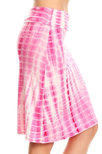 Simlu Pink Tie Dye Skirts for Women Knee Length Midi Flare (Tie Dye A-line)