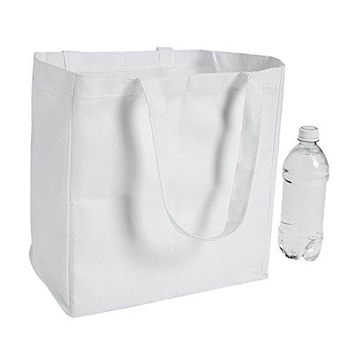 Fun Express - DIY White Poly Nonwoven Shopper Tote - Craft Kits - DYO - Fabric - Misc DYO - Fabric - 12 Pieces