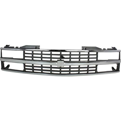 (New Grille For 1988-1993 Chevrolet C/K Fullsize Pickup Chrome Shell/Painted-Argent Insret, With Dual Sealed Beam And Composi GM1200142 15615110)