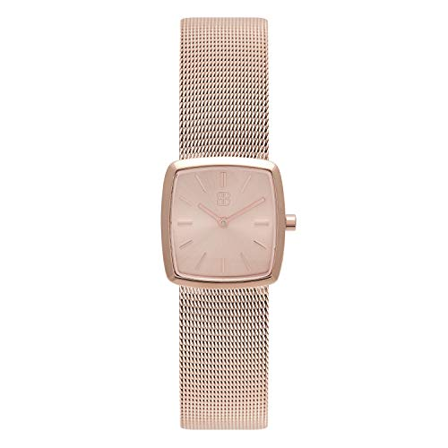 (26mm Women's Square Cocktail Watch - Elegant Waterproof Retro Minimalist Ladies Stainless Steel Watch - Byron Bond (Kensington - Rose Gold Case with Rose Gold Dial and Rose Gold Milanese Mesh Strap))