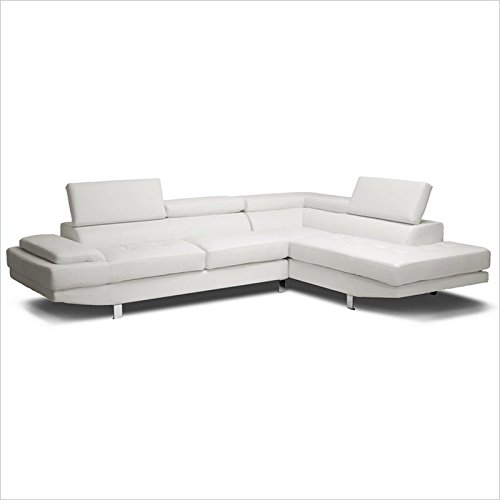 Baxton Studio Selma Leather Modern Sectional Sofa, 119.75L x 89.5W x 28.5H, White