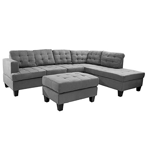 Merax 3-piece Sectional Sofa with Chaise and Ottoman, Suede Fabric / 6 pillows , Grey (Grey)
