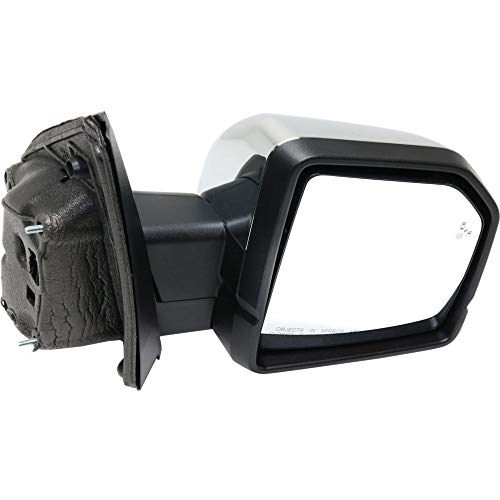 (Kool Vue FD181CR-S Mirror for Ford F-150 15-18 Right Side Non-Towing Power Folding Heated w/BSD Mem Puddle/Signal Light )