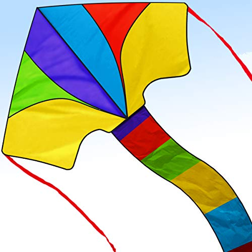Cool Kite for Kids and Adults Easy to Fly Outdoor Summer Activities Beach Fun Flying Kites Games Toys Giant Rainbow Eagle Dual Toddler Boys the Delta Fishing Line a Large Prism Wind Pole String Stunt