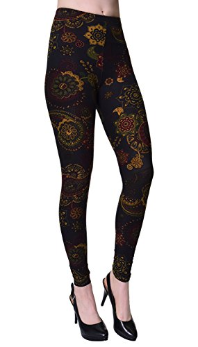 VIV Collection Printed Brushed Leggings (Bronze Olive Paisley)]()