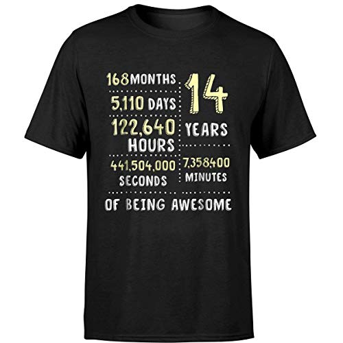 14th Birthday Gift T Shirt B Day 14 Years Old Being Awesome (Unisex T-Shirt/Black/L)]()