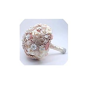 Bride Flower Bouquet Rhinestone Jewelry Blush Pink Brooch Bouquet Bridal Wedding Ramos Artificiales Flowers 69