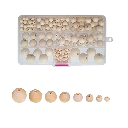 (Amaney 220pcs 6mm-20mm Unfinished Wood Beads Assorted Natural Round Ball Loose Solid Wooden Spacer Beads for Crafts DIY Handmade Jewelry Making Bracelet Garland Hair)