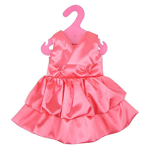 Beautiful Pink Satin V Neck Doll Clothes Dress fits 18 Inch Doll American Girl Dolls Madame Alexander (Dress only do not include doll & shoes)