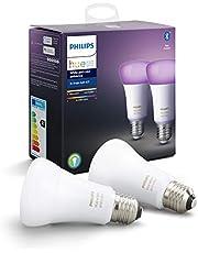 Philips Hue Standaard Lamp 2-Pack, E27, Duurzame LED Verlichting, Wit en Gekleurd Licht, Dimbaar, Verbind met Bluetooth of Hue Bridge, Werkt met Alexa en Google Home