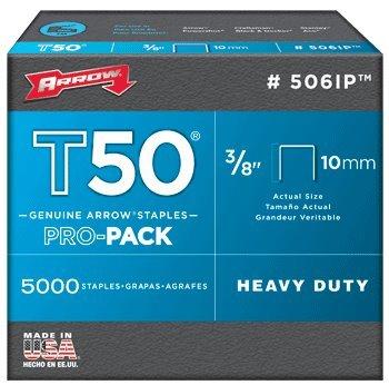 Arrow Fastener 506IP T50 3/8'' Flat Crown Heavy Duty Steel Staples | 2 Pro-Pack Bundle | 10000 Total | 5000 Each Box