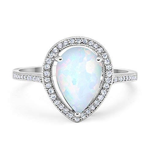 (Blue Apple Co. Halo Teardrop Pear Creatd White Opal Bridal Ring Rose Tone 925 Sterling Silver, Size-11)