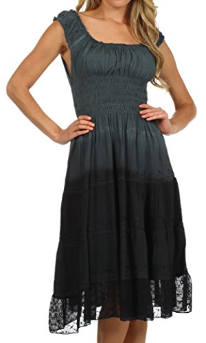 Sakkas 6741 Spring Maiden Ombre Peasant Dress - Charcoal - One (Spring Fashion Dresses)