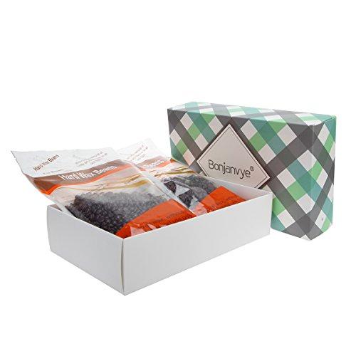 Bonjanvye Hard Wax Kit Hard Wax for Legs Hard Wax Beans 600g Chocolate