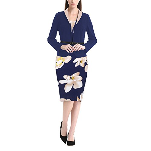 Wear to Work Dresses for Women with Colorblock Jacket Two Piece Set Blue Khaki L (Colorblock 2 Piece Dress)