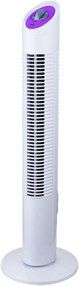 Jocca 2234 Ventilador de torre, color blanco y morado, 30 W, Plástico
