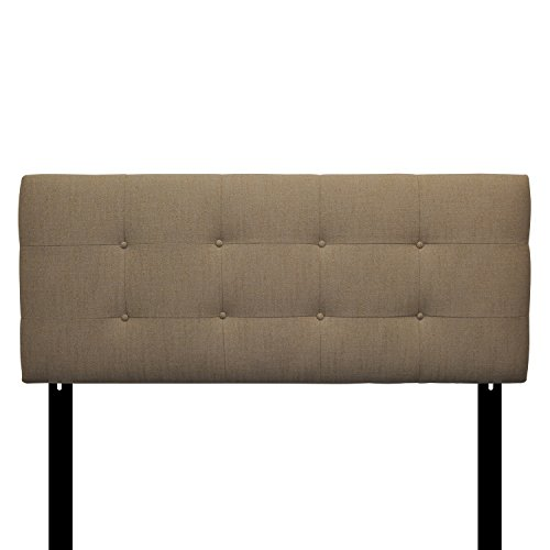 Sole Designs Ali Collection Padded Adjustable Twin Sized Upholstered Bedroom Headboard with 8 Button Tufting, Arcadia, Peble Finish