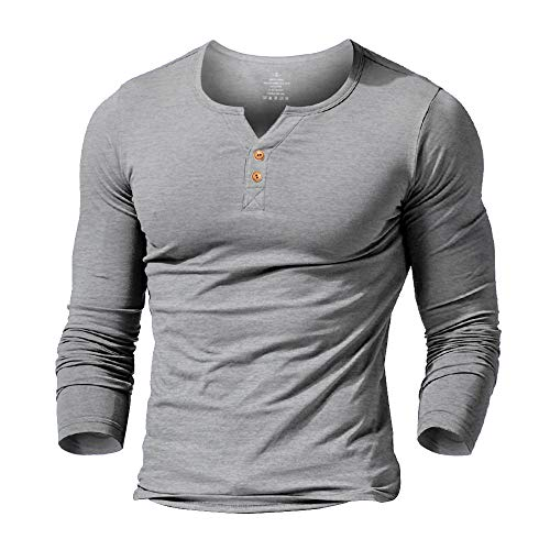 Slimbt Mens Long Sleeve Muscle Slim Fitted Cotton Henley T-Shirt with Buttons Grey M
