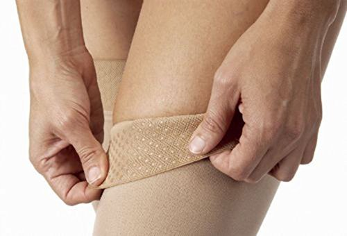 JOBST Relief 30-40 mmHg Compression Stockings, Thigh High with Silicone Band, Open Toe, Beige, X-Large by JOBST (Image #2)