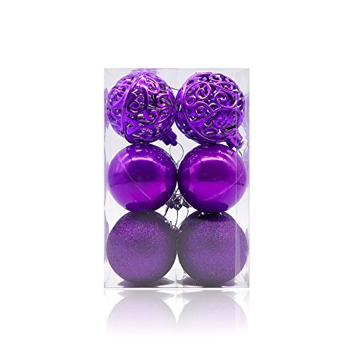 Purple Christmas Holiday Ornaments - 7