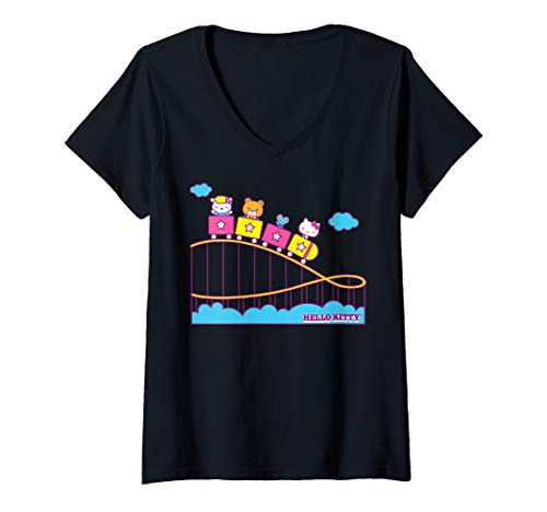 Womens Hello Kitty Rollercoaster Theme Park Fun V-Neck T-Shirt -