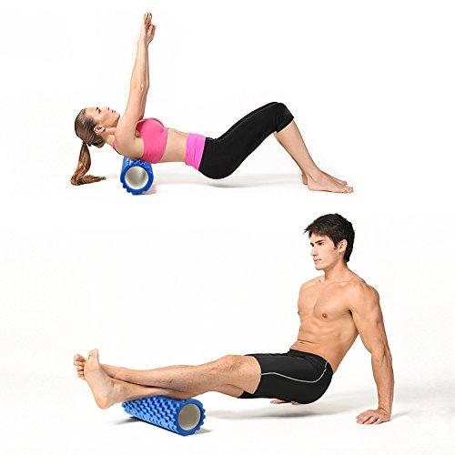Amzdeal Rouleau de mousse pour yoga massage musculaire Haute densité 2 en 1 Combinaison Flexible Déclencheur 3D convexe