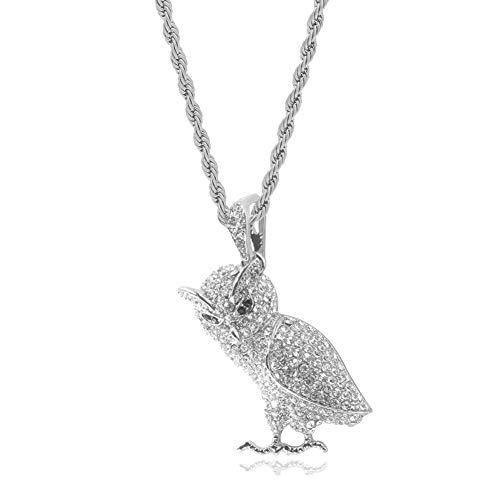 Halin Dre Hip Hop Night Club Plated 18K Gold Iced Out Animal Owl Pendant Stainless Steel Chain Necklace(White) (White Gold Owl)