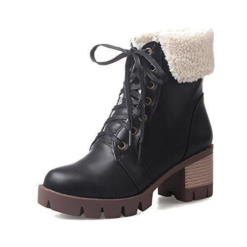 Medio Tacón Cerrada Mujer Cordones Boots Puntera Grueso Shoes Negro Ageemi Pu ZSYwqRfY