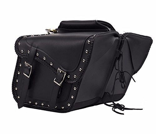 MOTORBIKE SADDLEBAG STUDS ZIP OFF PVC SADDLEBAG BLACK ()
