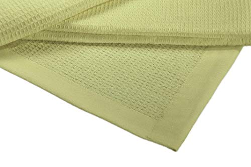 Crover Collection All Season Thermal Waffle Cotton Twin Blanket 66x90 Light Green with Deep Plain Edge Border and Durable Soft Yarns