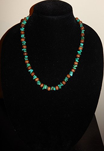 (Casual for your weekend is this lovely handmade turquoise nugget choker necklace.)
