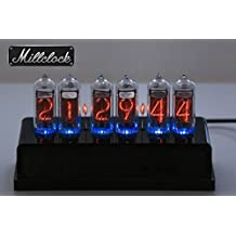 IN-14 NIXIE TUBE CLOCK ASSEMBLED WITH ACRYLIC AND WOOD ENCLOSURE GPS Alarm ADAPTER 6-tubes by MILLCLOCK