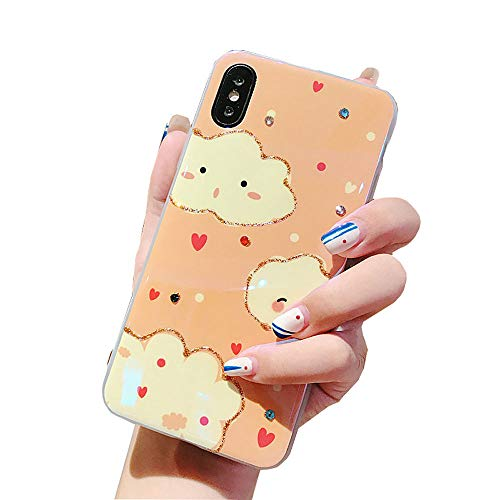 ICI-Rencontrer Cute Smiling Faces White Clouds Pattern iPhone XR Case Shimmering Powder Handmade Bling Rhinestone Blue Ray Light Reflective Soft TPU Cover Protective Case (Pink, iPhone XR)