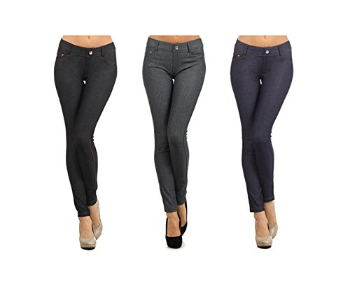 Yelete Womens Pull On Cotton Blend Color Jeggings (Medium, Black/Grey/Navy)(3 Pack)