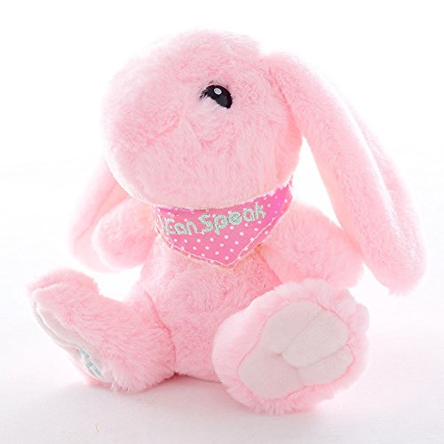 Talking Record Plush Interactive Bunny, Repeats What You Say Plush Rabbit Toy Funny Birthday Gift Kids Early Learning,Color Pink -