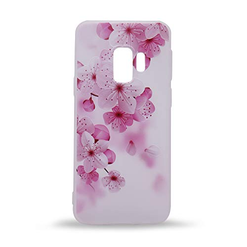 (IMIFUN 3D Relief Flower Silicon Phone Case for Samsung Galaxy S9 Romantic Rose Floral iPhone Cases Soft TPU Cover (Pink Blossom) )