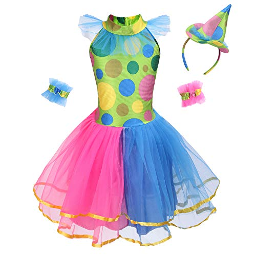 (yolsun Clown Costume, Funny Role Play for Mardi Gras Dress Up (L (Suggested Height:47