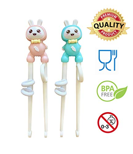 Everyday Delights Rabbit Training Chopsticks for Right-handed Children, Kids & Teens, 2 pairs (Pink & Blue) - Cute, Eco-friendly, Reusable, Durable (Best Hamsters For Beginners)
