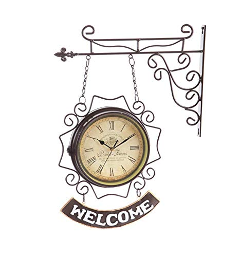 BOSSLV Wall Wash Lights Lamps Wall Lights Sconce Mediterranean Wrought Iron Double-Sided Wall Clock Home Decoration Clock Pendant