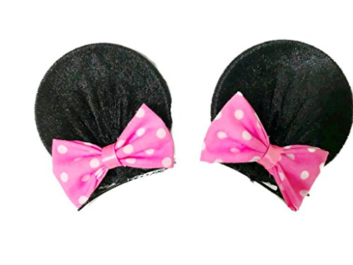 MeeTHan Minnie Mouse Clips Ears Baby Elastic Hair Clips Costume Accessory :M12 (Minnie clip 7 cm) - Bulk Minnie Mouse Ears