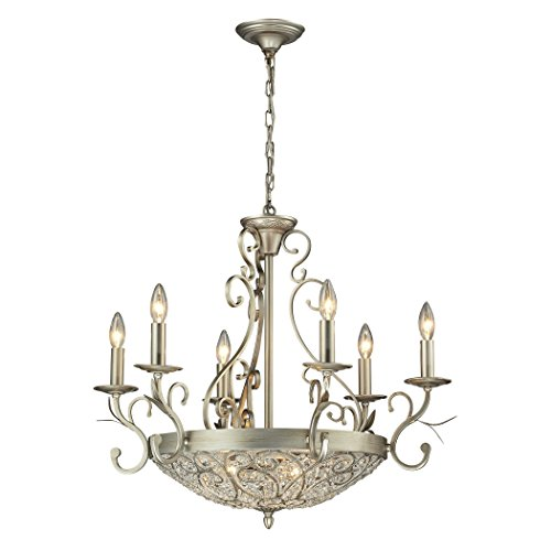 Cheap Elk Lighting 11696/6+3 Andalusia Collection 6+3 Light Chandelier, Aged Silver
