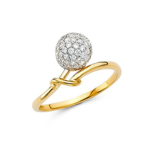 American Set Co. 14k Yellow Gold Pave Cluster CZ Ball Ring