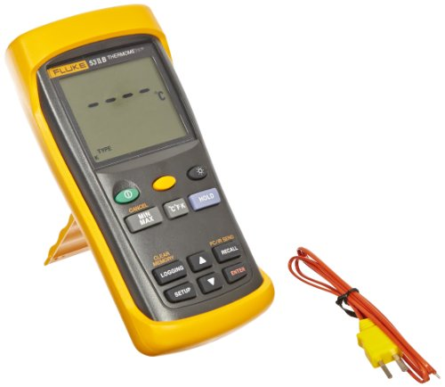 Fluke 53-2 Single Input Digital Thermometer with USB Recording, 3 AA Battery, -418 to 3212 Degree F Range, 60 Hz Noise Rejection by Fluke